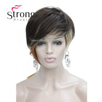 StrongBeauty freindy Asimétrico Brown Blonde Mix Peluca Corta Suave calor peluca Llena de OPCIONES de COLOR