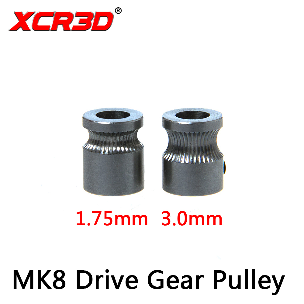 XCR3D 3D Printer Extruder accessories MK8 Drive Gear Pulley Reprap 1.75 Filament Extrusion wheel Wire feeding wheel die steel feeding extrusion wheel for 3d printer black