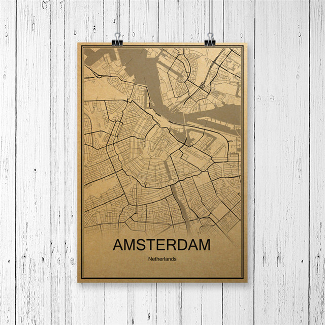 Hot sale world map poster amsterdam vintage retro krafts paper art hot sale world map poster amsterdam vintage retro krafts paper art wall picture print painting home gumiabroncs Choice Image