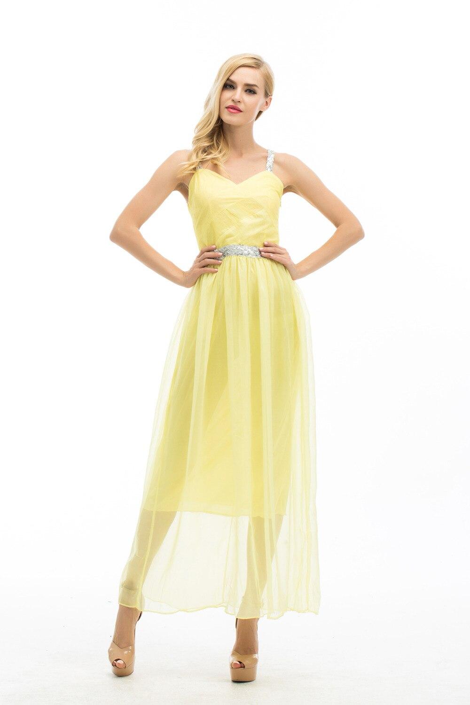 best service 806b8 38731 US $9.61 26% OFF|Neue Lange Chiffon Brautjungfer Formales Kleid Ball  Hochzeit Prom Party Kleid Gelb Farbe-in Kleider aus Damenbekleidung bei ...