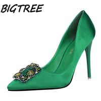 BIGTREE Summer Women Pointed Toe High Heels Shoes Woman Shallow Crystal Pumps Ladies Fashion Party Wedding