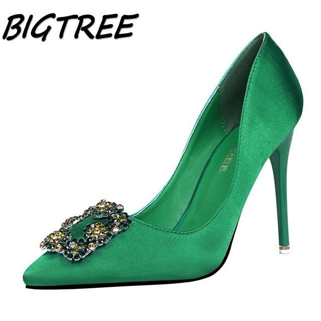 Bigtree mulheres verão apontou toe sapatos de salto alto mulher cristal rasas bombas senhoras moda sapatos de festa de casamento de seda único