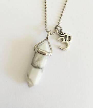 Vintage Silver Ohm Om Charms White stone Natural Stone Bullet Necklace Choker Statement Necklace Pendant Jewelry