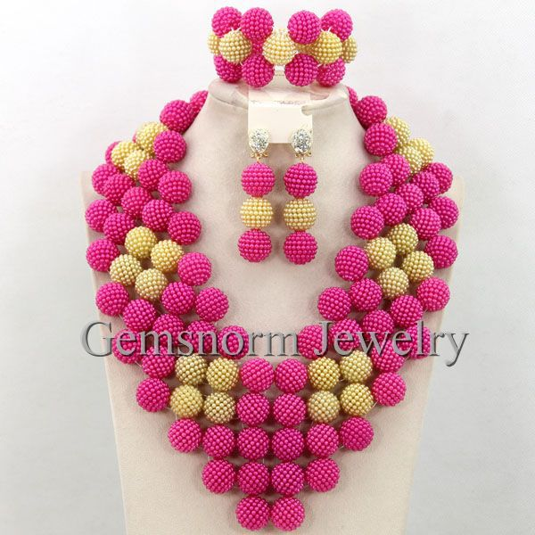 Gorgeous Blue African Beads Balls Necklace Set New Traditional