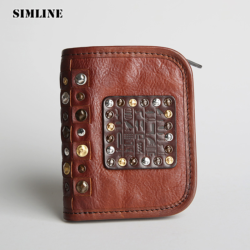 Luxury Brand Vintage Handmade Genuine Leather Cowhide Mens Men Short Wallet Purse Wallets Card Holder With Zipper Coin Pocket monoleth luxury brand genuine leather wallet men vintage wallets clutch pouch coin purse zipper leather wallet w2004 2