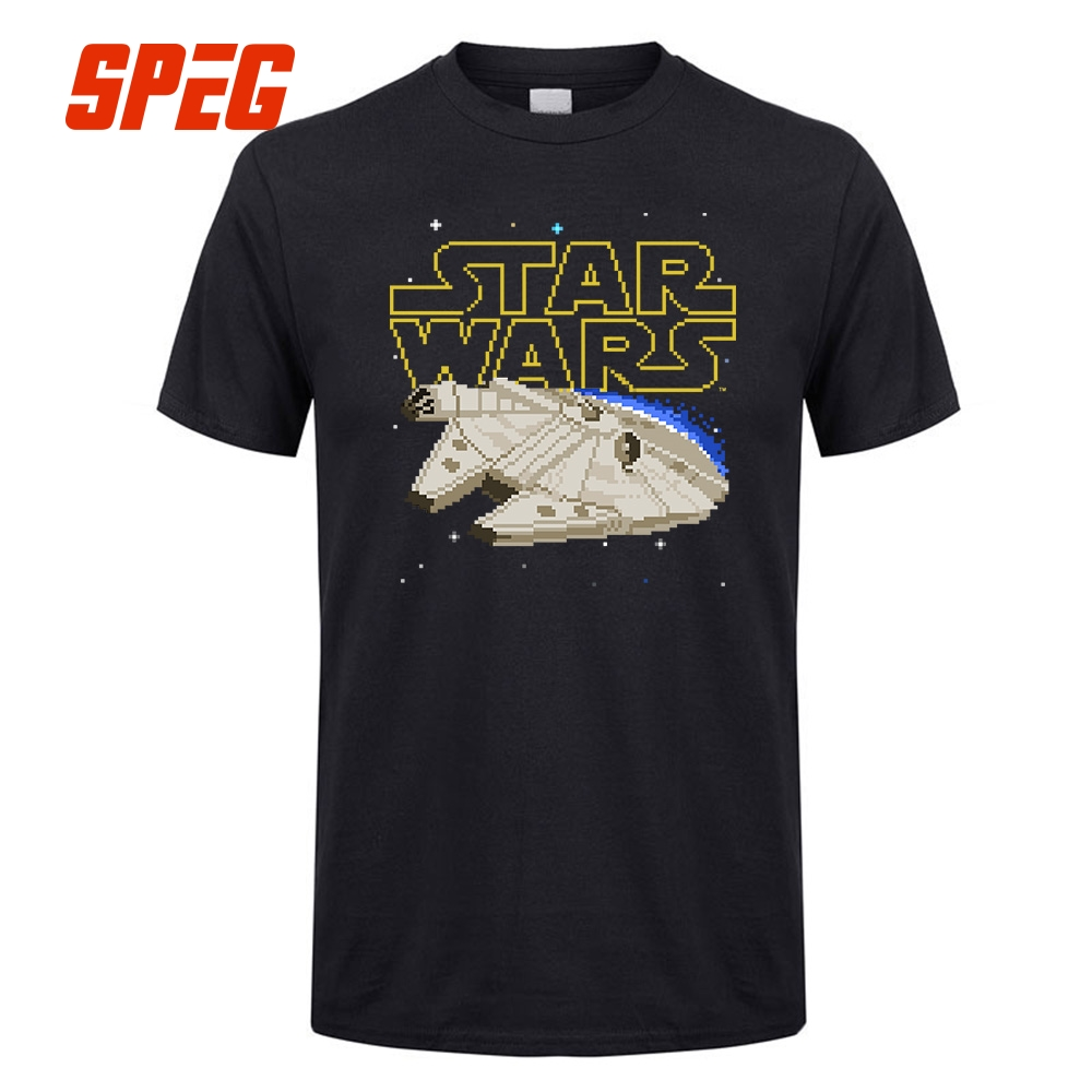 Star Wars 7 AT-AT Walker Men Short Sleeve T Shirts Millenium Falcon Man Cartoon tee shirt Leisure Top Game Tee Shirt For Men