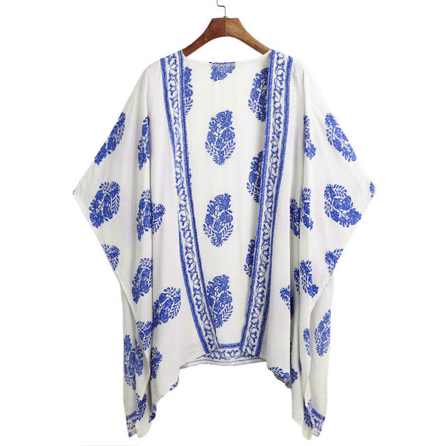 706850c164 placeholder 5XL Plus Size Kimono Top Women Summer Cardigan Bikini Cover Up  Floral Beach Saida De Praia