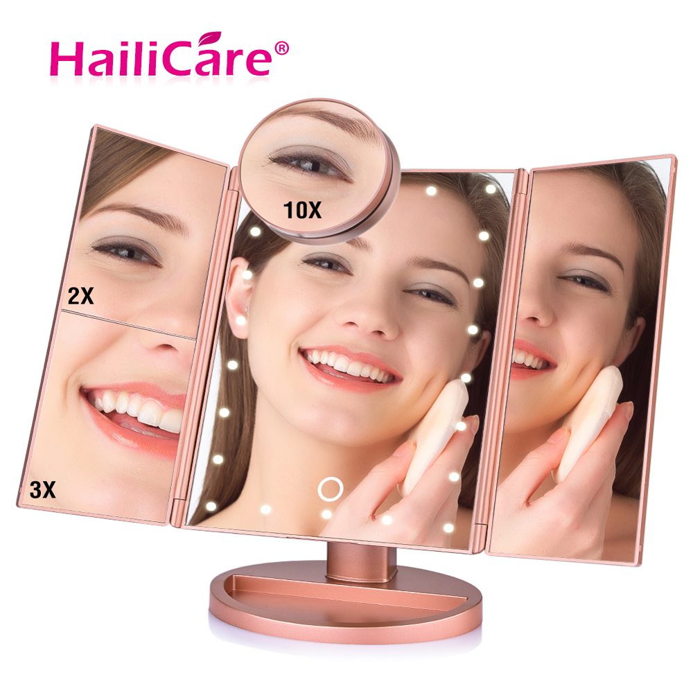 22 LED pantalla táctil espejo de maquillaje 1X 2X 3X 10X lupa espejos 4 en 1 Tri-plegado escritorio espejo luces De Salud herramienta de belleza
