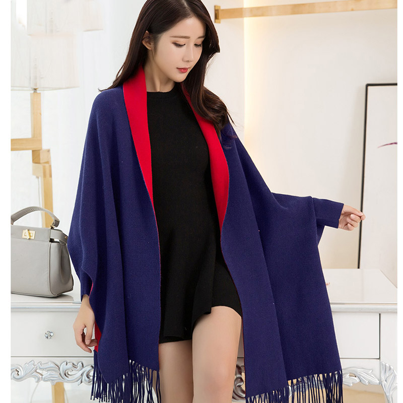 Women Navy Blue Poncho Capes 2019 Wearable Shawls and   Wraps   for Ladies Winter Warm   Scarf   Stoles Thick Pashmina Reversible Poncho