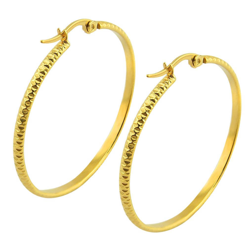 1 Pair Stylish Gold Stainless Steel Circle Earrings Classic Style Big Hoop  Earrings 3*35mm Ear Piercing Jewelry For Womens Party