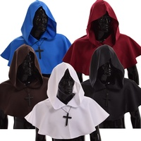 Medieval Hooded Wicca Pagan Cowl Hood 5 Color Halloween Fancy Cosplay Costume
