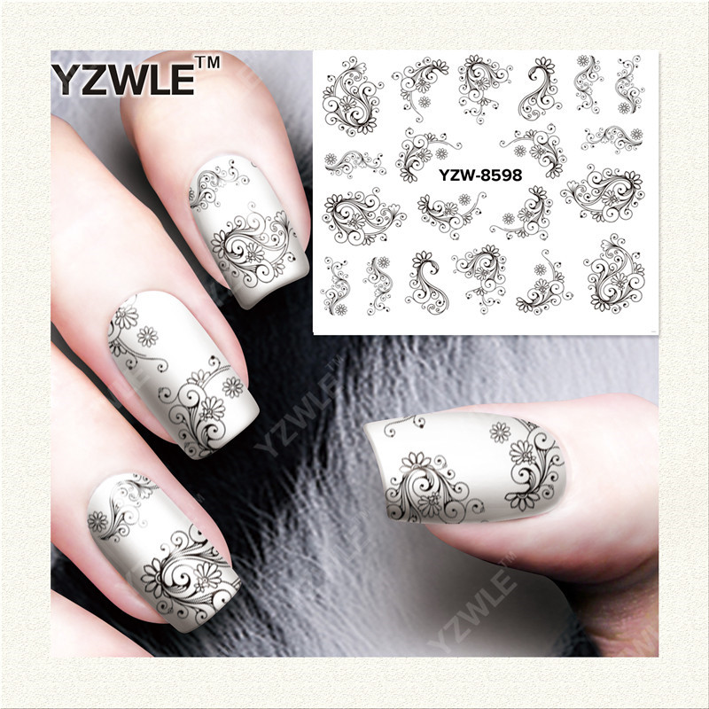 YZWLE 1 Sheet DIY Designer Water Transfer Nails Art Sticker Decals Accessories For Nail Salon (YZW-8598) yzwle 1 sheet diy designer water transfer nails art sticker nail water decals nail sticker accessories yzw 8196
