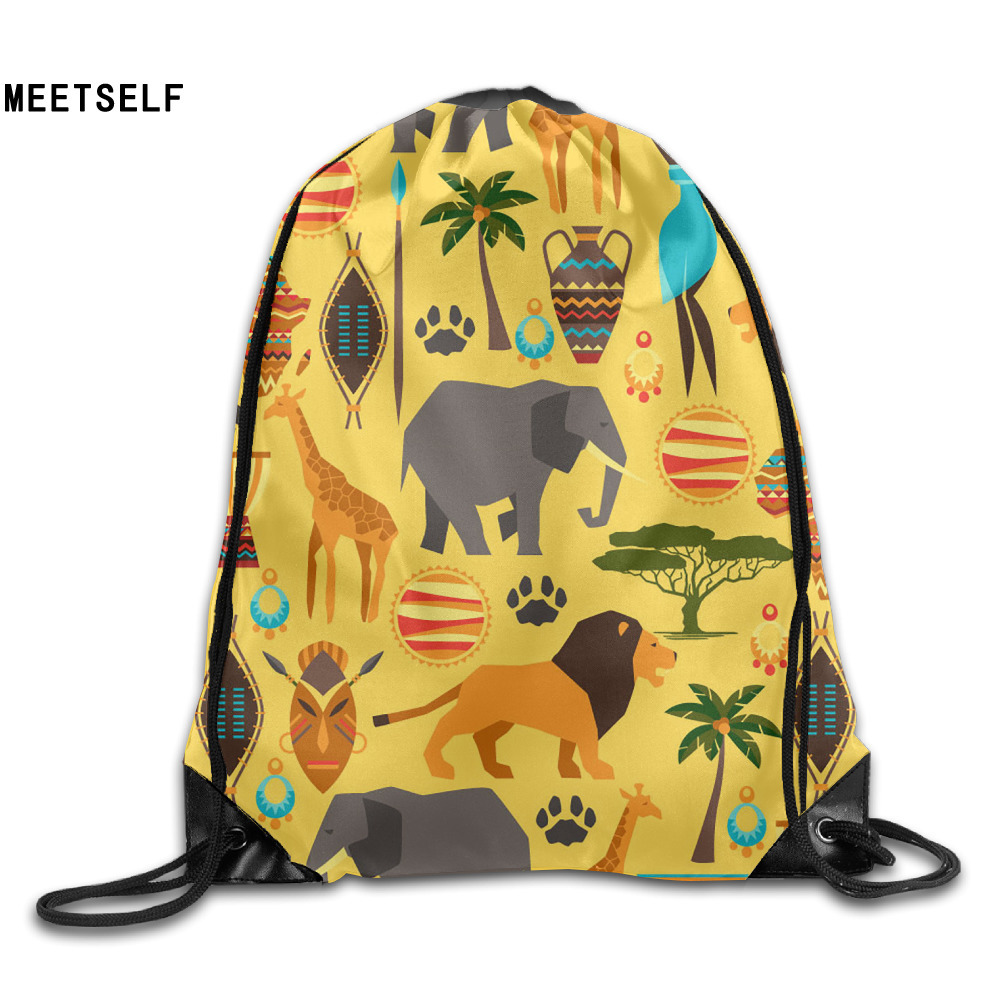 Samcustom 3d Print Africa Specific Style Shoulders Bag Women Fabric Backpack Girls Beam Port Drawstring  Dust Storage Bags