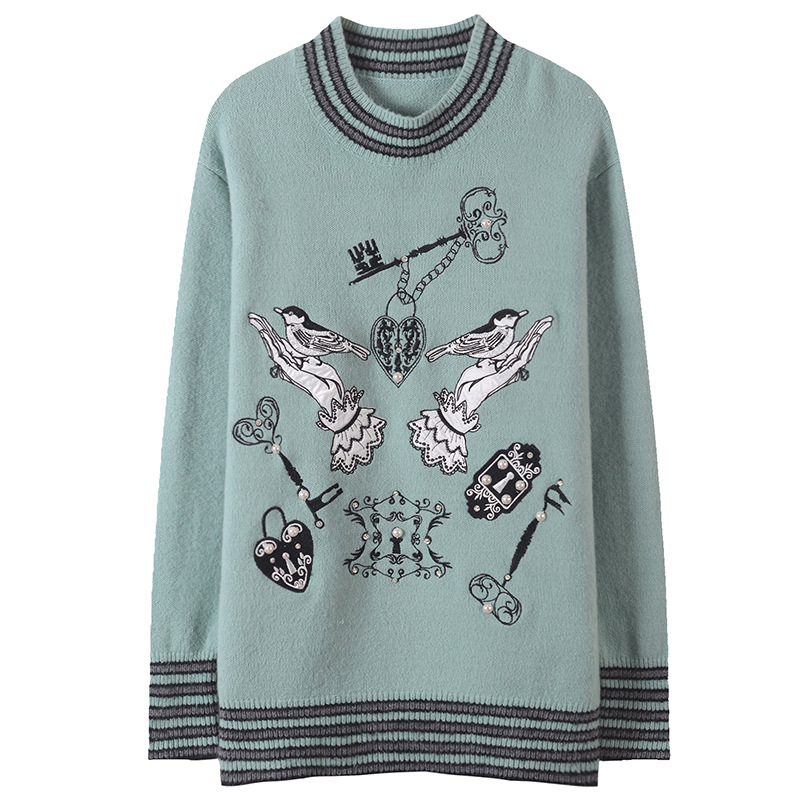 Women Sweater Palm Bird Embroidery Striped Knitted Beading Jumper Plus Size Runway Long Sleeve Pullovers Top Loose Autumn Winter