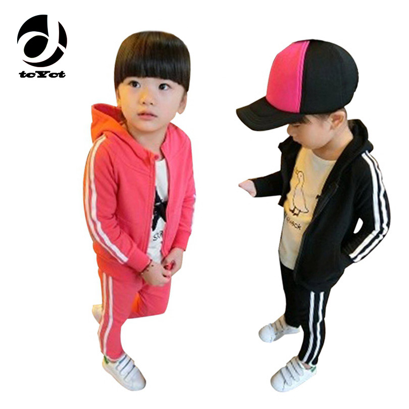New Autumn Casual Striped Hooded Track Suit Kids 2pcs Girl Clothing Sets Black Girls Sport Suit Hooded+Pant Girls Winter Clothes girl clothing sets new brand baby girls spring autumn 2pcs velvet suit for girl casual kids sports suit sweatshirt pant