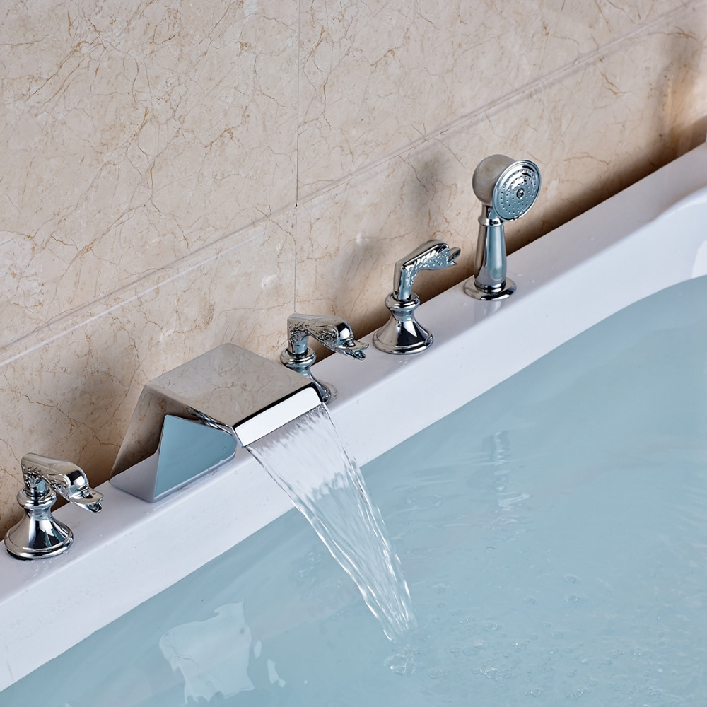 Waterfall Chrome Bathtub Faucet 3 Swan Handles 5 Holes Tub Mixer Tap+Hand Shower