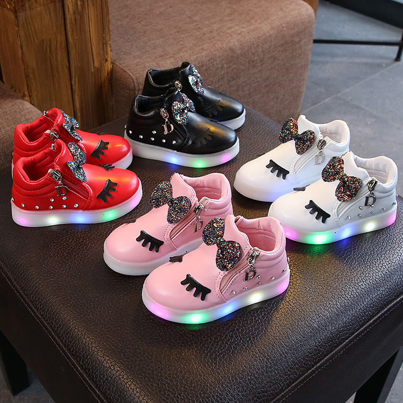 Hot Sale Child Luminous Sneakers Princess Kids LED Flashing Girls Cartoon Casual Shoes With Lights Flat Sport Shoe Size 21-30