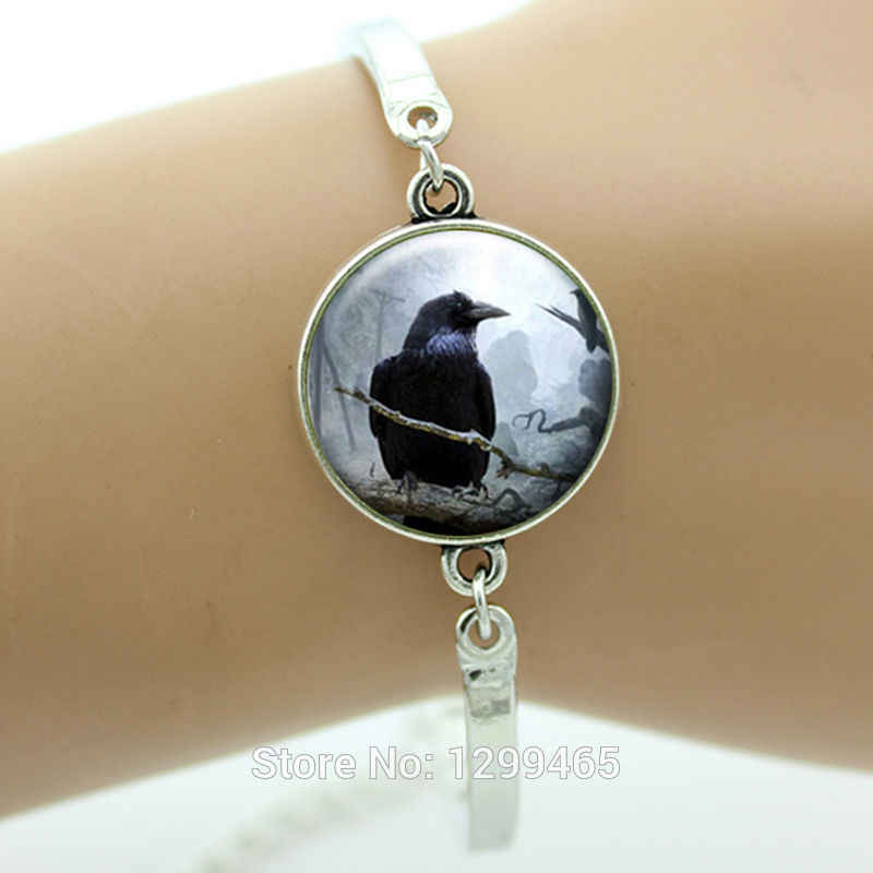Halloween Art Picture Silver Raven Bangles Spooky Black Bird Crow Photo Jewelry  Friendship gift for men and women B177