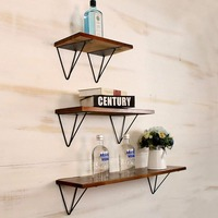 Wall Floating Shelves Iron Wood Set of 3 Pieces
