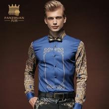 FANZHUAN Featured Brands Clothing Men Shirt Vintage Pattern Printed Dress Shirt Men Long Sleeve Casual Shirt Male Hawaii Shirt