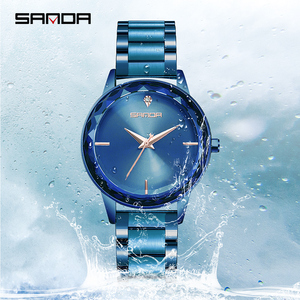 Image 5 - Sanda אופנה יוקרה נשים קוורץ שעונים צבע יהלומי שעוני יד מקרית שעון גבירותיי שעונים reloj mujer relogio feminino
