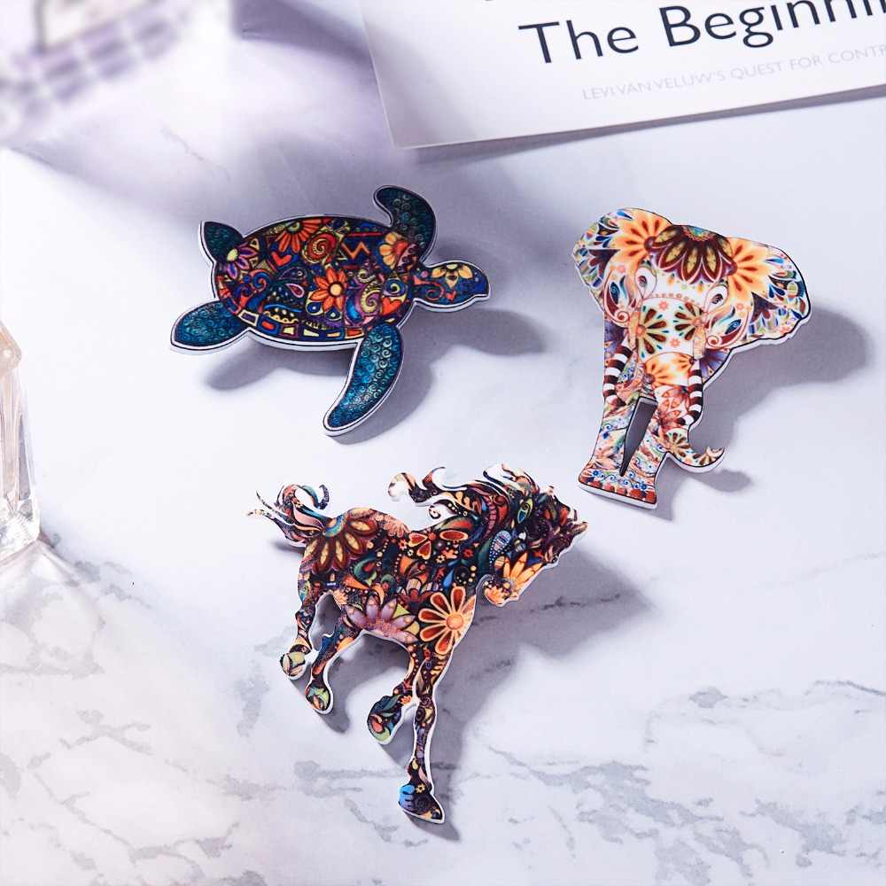 Akrilik Hewan Bros Kucing Anjing Burung Badak Kuda Gajah Turtle Kuda Bros Lucu Bros Hewan Perhiasan Hadiah Terbaik Pria