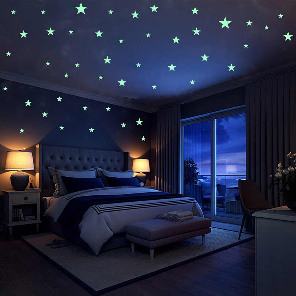 Luminous Stars Moon For Livingroom Decoration Bedroom Decor Kids Rooms Room Ceiling Removable Shiny Wall Decals
