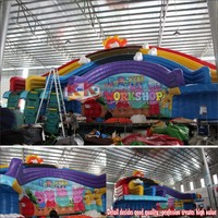 Frame Pool Rainbow Water Slide,Water Park Equipment Inflatable Commercial Water Slide for Sale