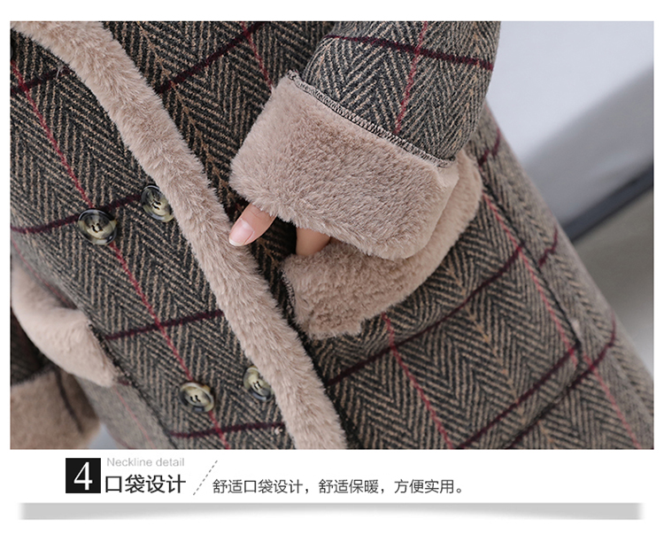 Lamb fur-padded 2018 winter women's new loose-fitting mid-length padded check wool coat, cotton-padded jacket 11