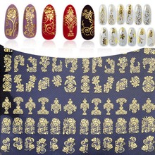 Nail Art Stickers Big 108PCS 3D Flower Design DIY Decoration Tools Gold Decals Polish Sticker 4 color