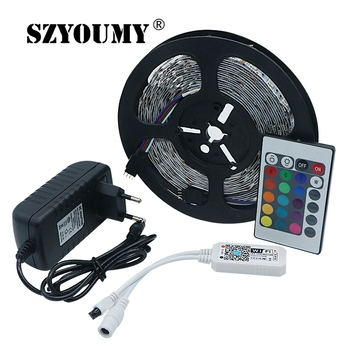 SZYOUMY RGB Music Wifi Remote LED Strip Light SMD 5050 5M 150LEDS Flexible Tape 30LEDS/M Diode Ribbon Controller 3A Adapter
