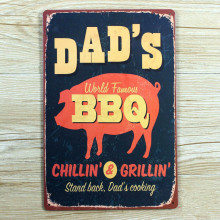 "BBQ DAD""S   lovely PIG  UA-0067  metal painting vintage Tin signs for bar vintage decorative plates wall art craft 20x30cm"