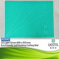 Light Green 2.5 mm Rectangle Self Healing Eco Friendly TPE Cutting Mat A2 60x45 cm 24x18 inch