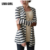 New Fashion Autumn Outerwear Women Long Sleeve Striped Printed Cardigan Casual Elbow Patchwork Knitted Sweater Plus