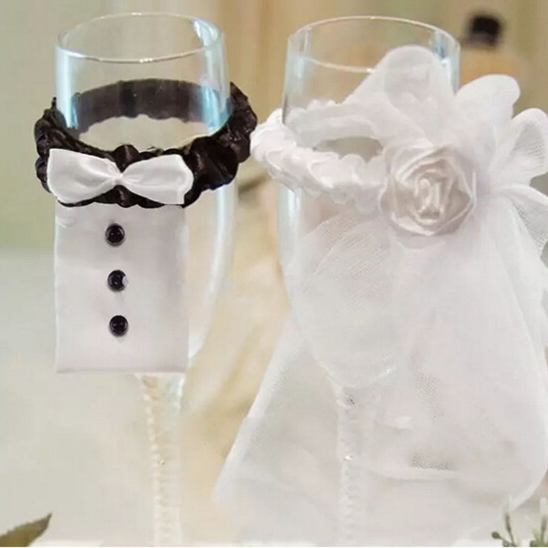 2 PCS Cup Decor Bride Groom Tux Bridal Veil Wedding Party Holiday Toasting Wine Glasses Cup Decor Supplies Accessories Gadgets