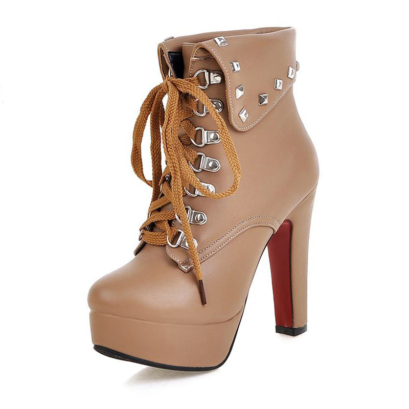 ФОТО SM Big Size 32-48 Sexy Fashion High Heels Ankle Boots Platform Rivets Lace Up Women Boots Spike Heels Fall Winter Women Shoes