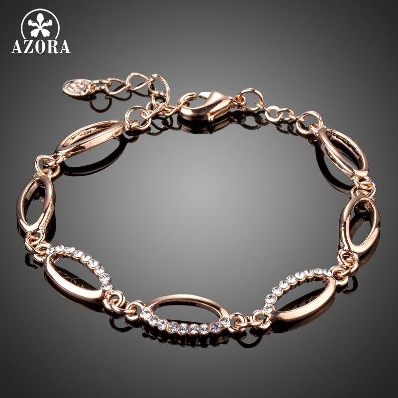 Tennis Charm Bracelet: AZORA Rose Gold Color Marquise Stellux Austrian Crystals