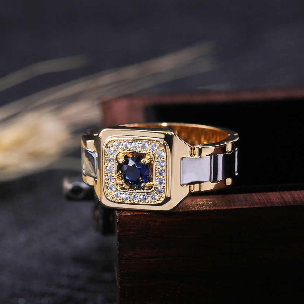 2019 Moda de Luxo Cristal Azul Zircão Anel de Pedra do Sexo Feminino Masculino Ouro Amarelo Wedding Band Jóias Promessa Anéis Para Homens E mulheres