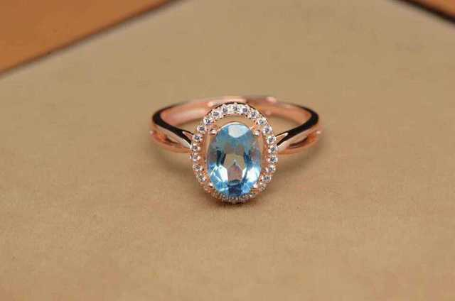 Natural blue topaz stone Ring Natural gemstone Ring S925 sterling silver trendy  Elegant simple round women's party fine Jewelry