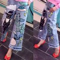 Europe 2016 new spring and summer leisure fashion pattern all-match heavy animation nine points Wide Leg Jeans female