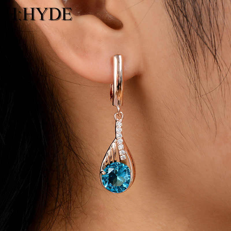H:HYDE Gold Color Earrings Green Round Crystal CZ Stone Pierced Dangle Earrings Women/Girls Long Drop Earrings Fashion Jewelry