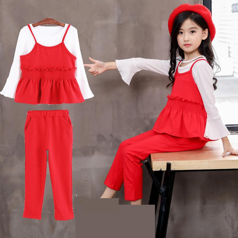 2018 Children Girls Clothing Sets Autumn Teenage Girls Suit School Kids Clothes 3pcs Girls Clothes White T-shirts + Vest + Pants цена 2017