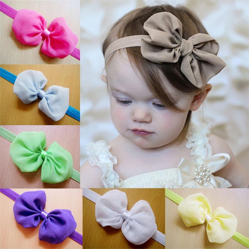 Baby Headband Ribbon Handmade DIY Toddler Infant Kids Hair Accessories Girl Newborn Bows Bowknot Elasticity Chiffon Flower
