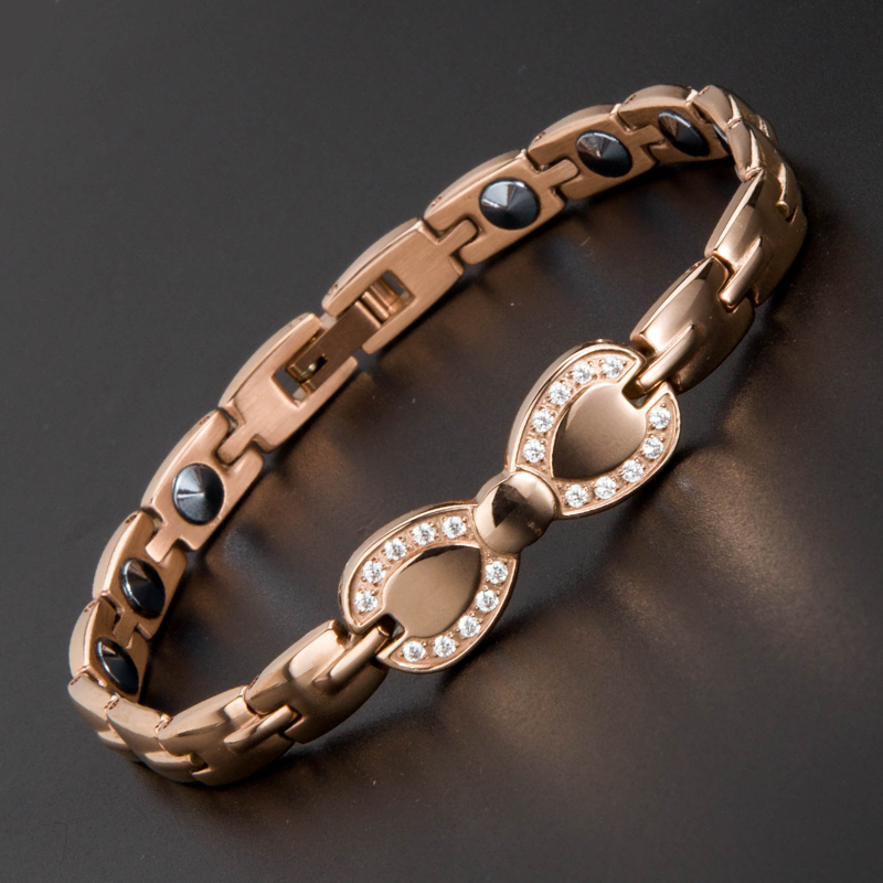 38 Brand New Rose Gold Silver 99.999% Pure Germanium Women Bracelet Health Magnet Female Bracelet Bangle for Lady Slimming 38 fashion health magnet charm bracelet full pure 99 9