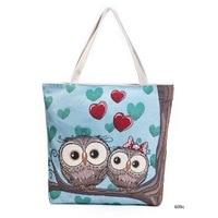 Cartoon Owl Printed Shoulder Bag Women Large Capacity Female Shopping Bag Canvas Handbag Summer Beach Bag Ladies