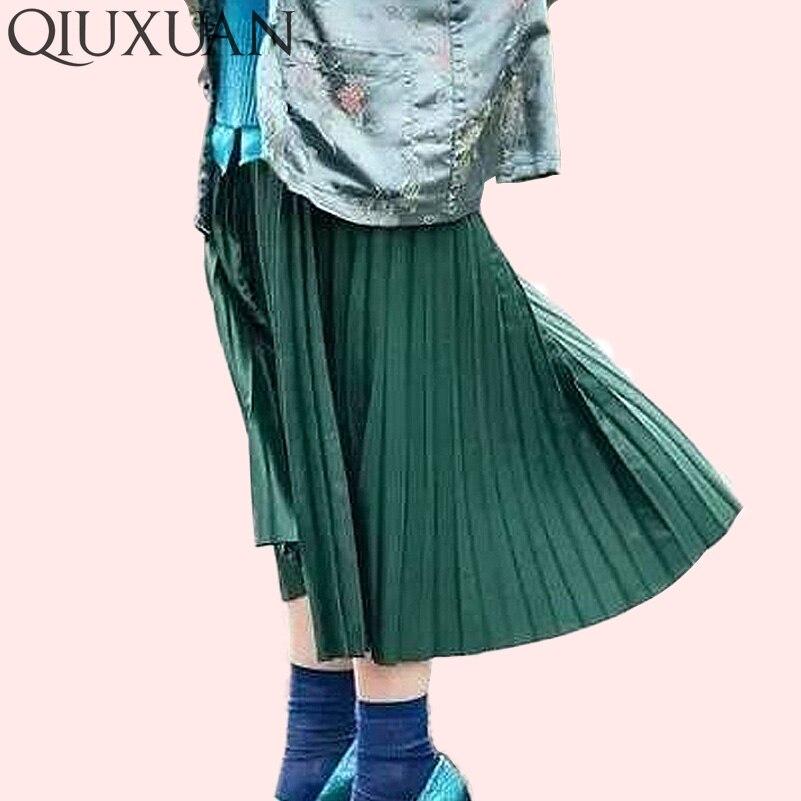 Faldas de mujer nueva moda mujer alta cintura plisada Color sólido falda de longitud del tobillo todo-fósforo ropa de gasa