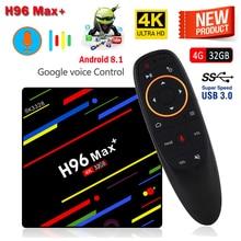 H96 Max Plus Voice Android 8.1 TV Box 4GB RAM 32GB ROM Set-top Box RK3328 Quad Core 2.4G Wifi USB 3.0 4K VP9 H.265 Media Player