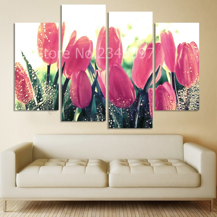 4PCS Canvas Painting purple Flower Paintings For Living Room Beauty ...