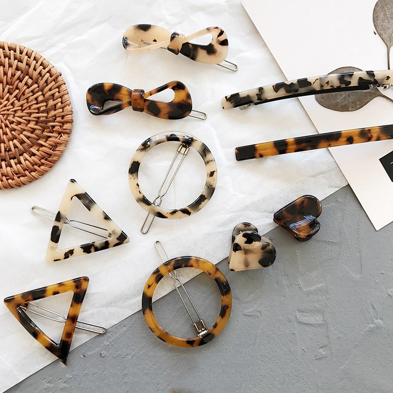 Simple Style Versatile Hair Clips Vintage Leopard Amber Geometric Bow Bangs Clip Side Clip Korean Hair Accessories