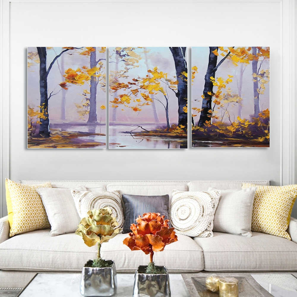 Laeacco Canvas Painting Calligraphy 3 Panel Trees River Wall Art Autumn Prints Nordic and Forest Posters Home Living Room Decor